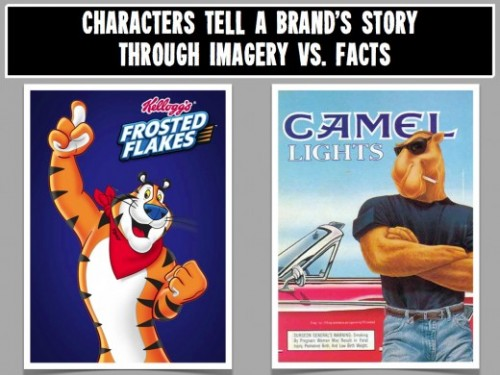 Tony the Tiger and Joe Camel disguise their brand's truth by promoting a unique brand personality and image
