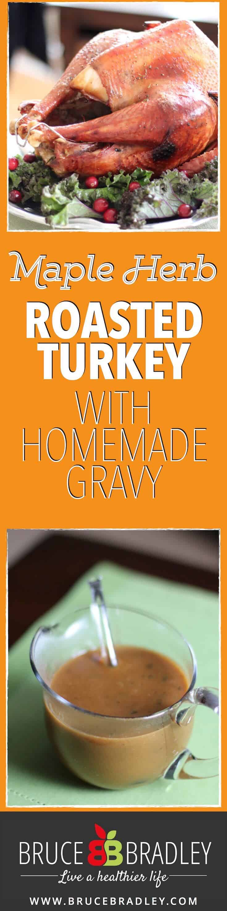 In Let's Talk Turkey Bruce Bradley shares how to find a healthier turkey plus two great recipes on how to cook a perfect Maple Herb Roasted Turkey and an easy, Homemade Gravy that doesn't have to cause a last minute panic!