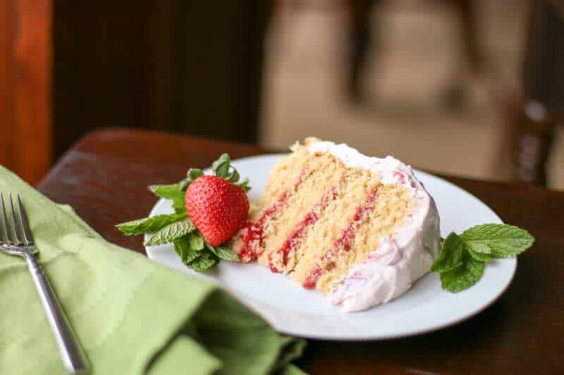A delicious slice of REAL Strawberry Cake