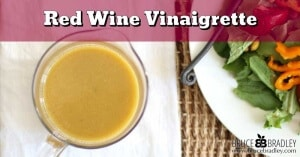Fresh, simple ingredients make this delicious Red Wine Vinaigrette salad dressing pop! It takes less than 5 minutes to make so why not make your own dressing?