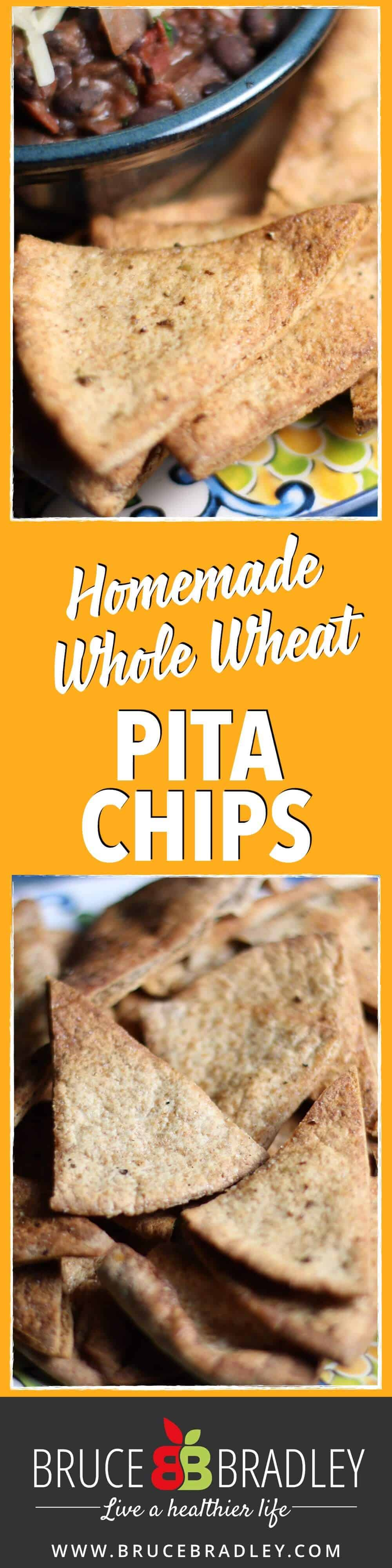 These homemade whole wheat pita chips are a tasty, easy substitute for highly processed, store-bought crackers!