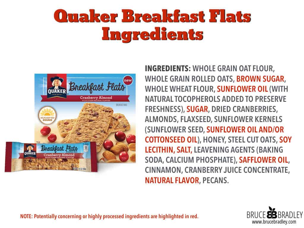 Quaker Breakfast Flats have a relatively clean ingredient list ... except they contain lots of sugar!