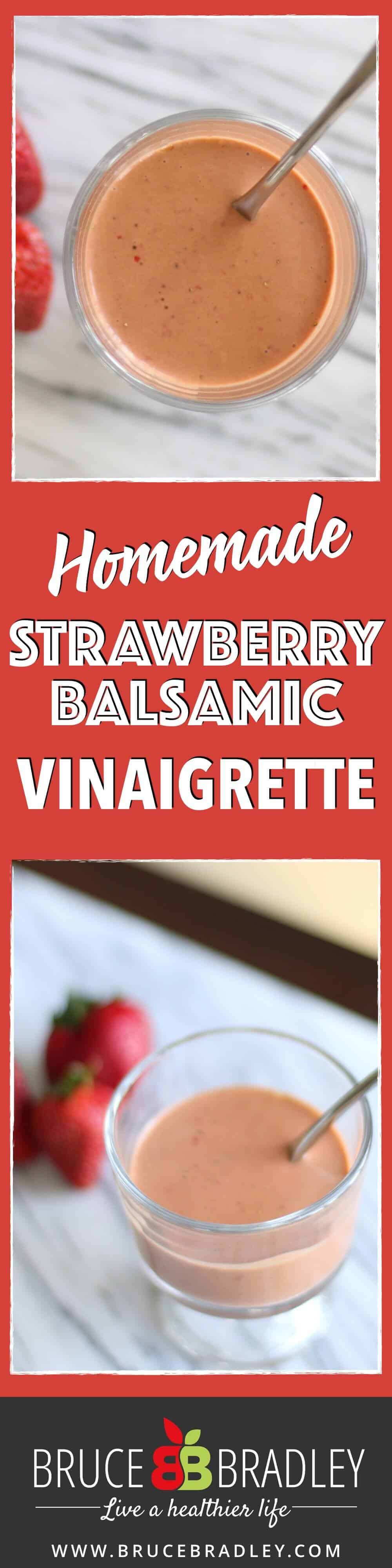 This Strawberry Balsamic Vinaigrette salad dressing is made with fresh or frozen strawberries and turns your salad from ordinary to extraordinary in a flash!