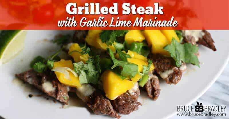 This Cuban-inspired grilled steak recipe with Garlic Lime Marinade is the perfect most flavorful way to cook up steaks in less than 6 minutes!